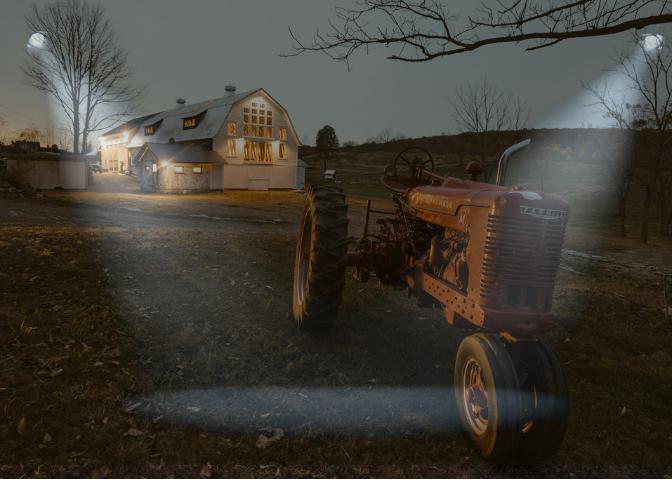 the farm at night