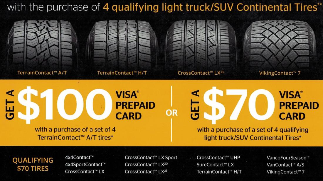 Continental Tire prepaid visa offer