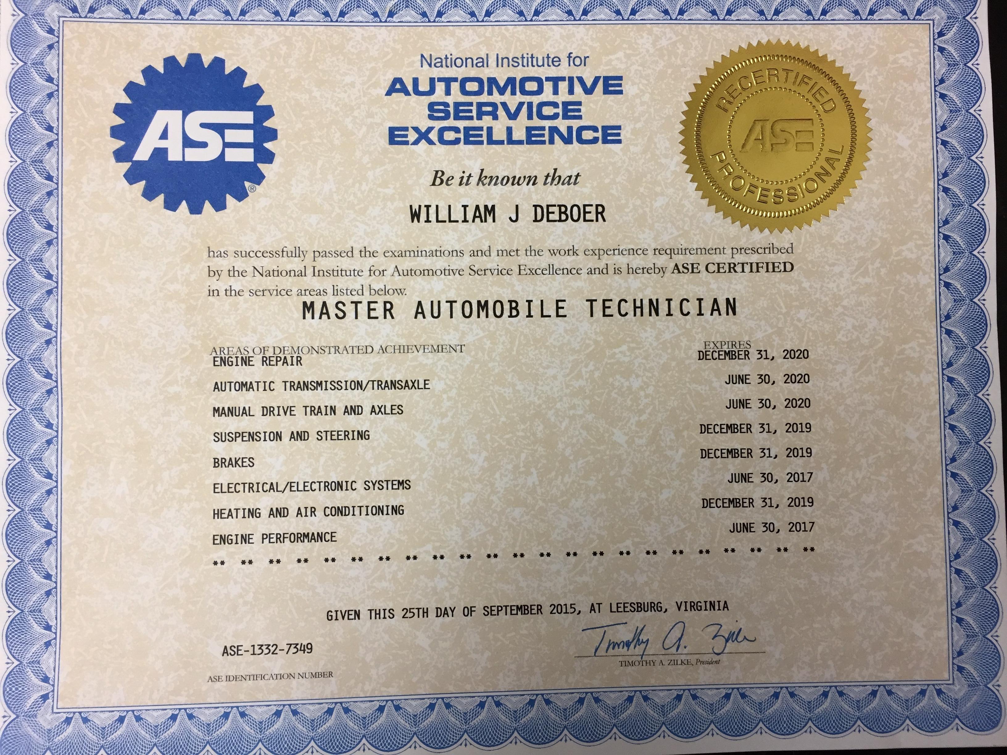 repair ase certification professionals program
