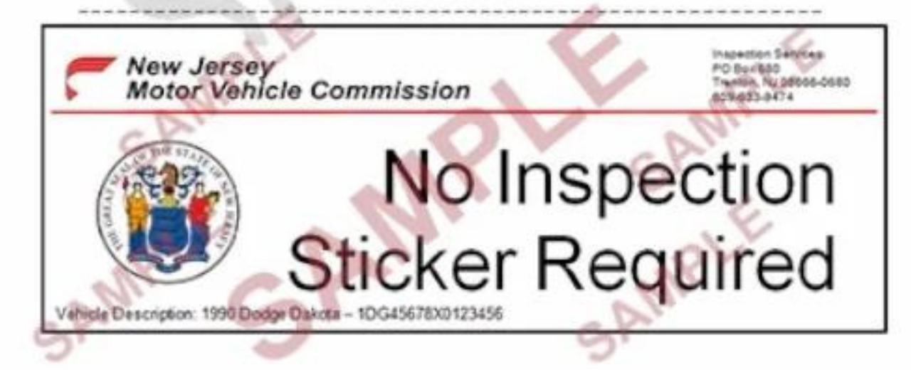 no inspection sticker sample