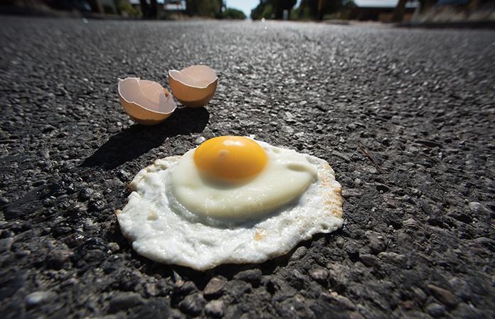 egg on sidewalk