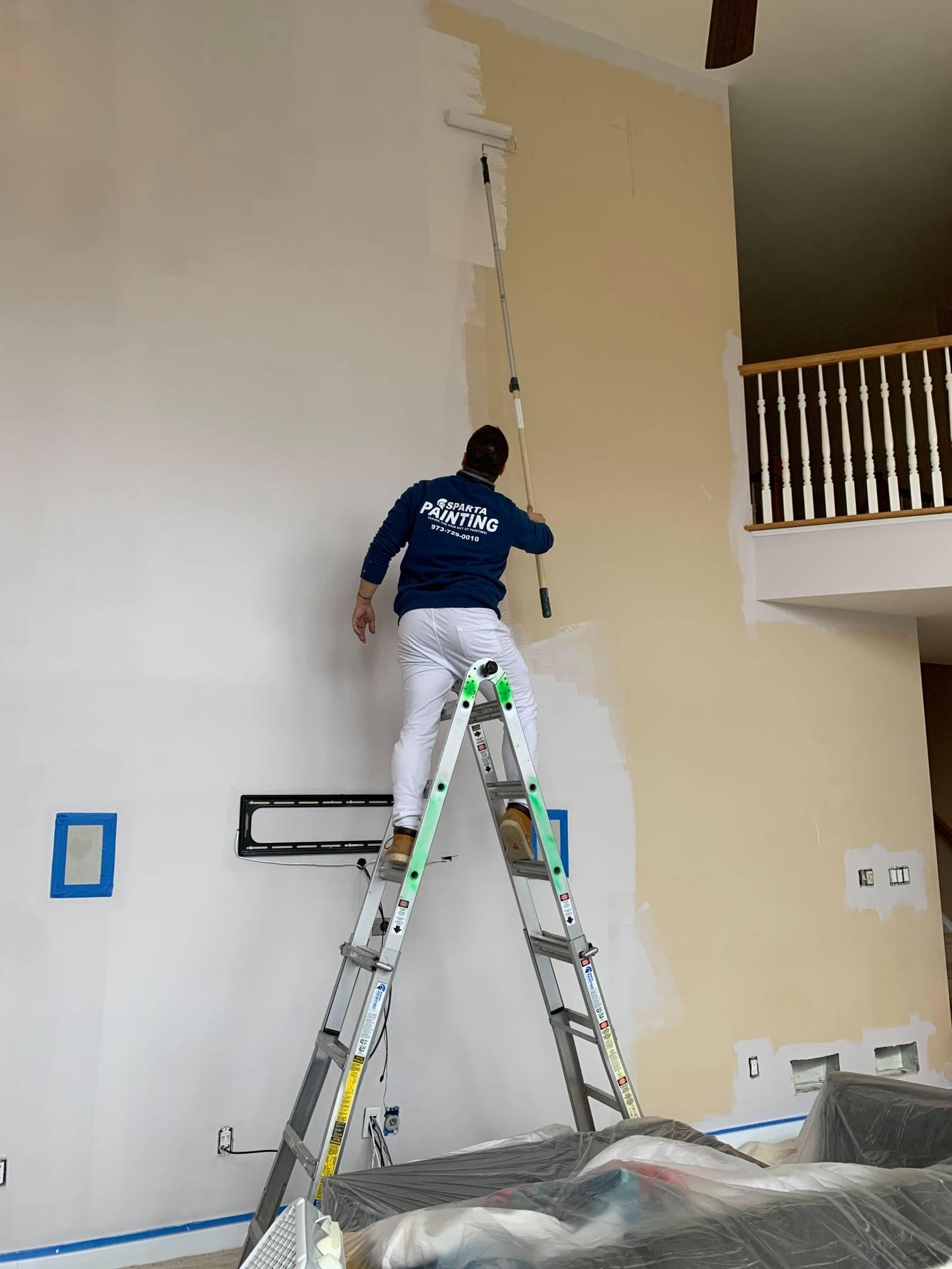 man painting on ladder