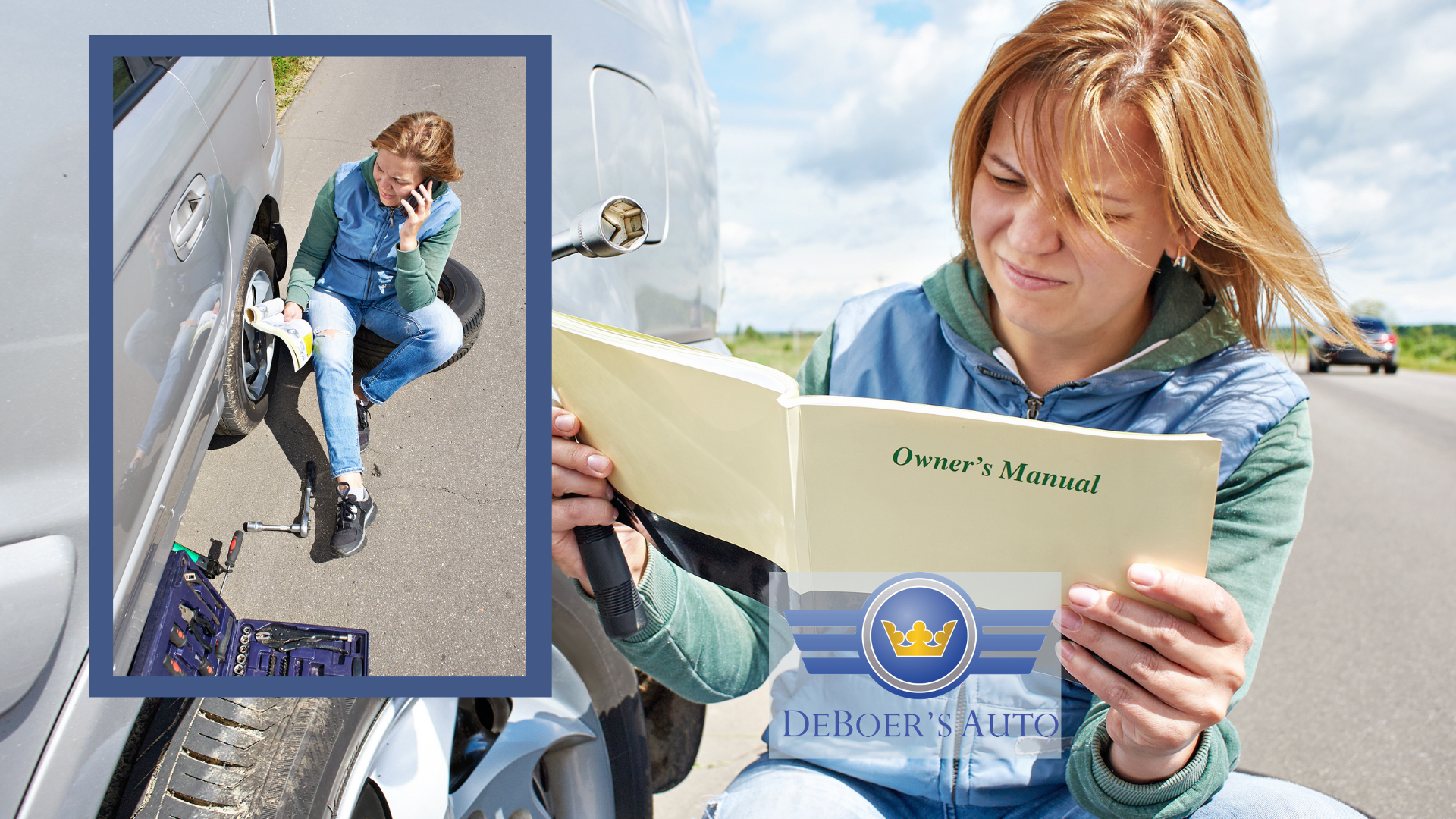 roadside changing tire reading manual